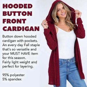 Hooded Button Front Cardigan